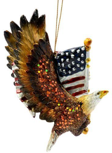 Kurt Adler Resin Patriotic Eagle with the American Flag Ornament by Kurt Adler. $8.99. Patriotic eagle design. Composed of resin. Wonderfully detailed. Show your American pride with this Kurt Adler Resin Patriotic Eagle with the American Flag Ornament.  This colorful, shimmering eagle is in flight with its glitter-adorned wings spread magestically; it is holding in its talons a beautifully detailed American flag, which is blowing in the wind--a must-have for anyone proud t...