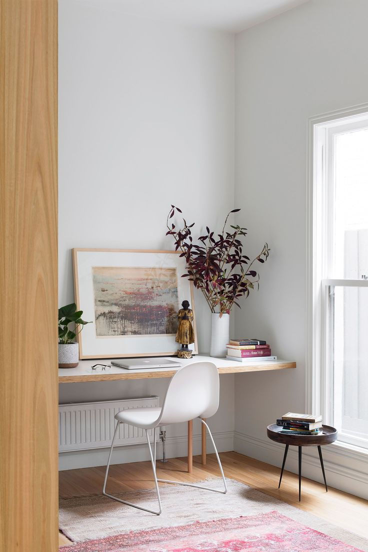 Home office from bespoke renovation of an old Victorian terrace in Melbourne. Photography: Martina Gemmola | Styling: Ruth Welsby | Story: Australian House & Garden