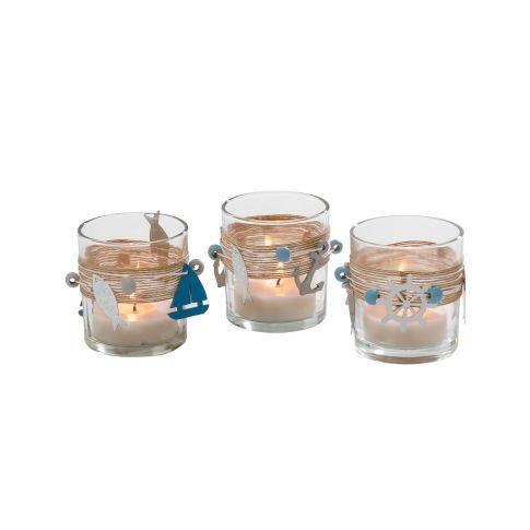 Teelichthalter-Set, 3-tlg. Maritim, aus Glas, mit toller Deko, Maritimer Look