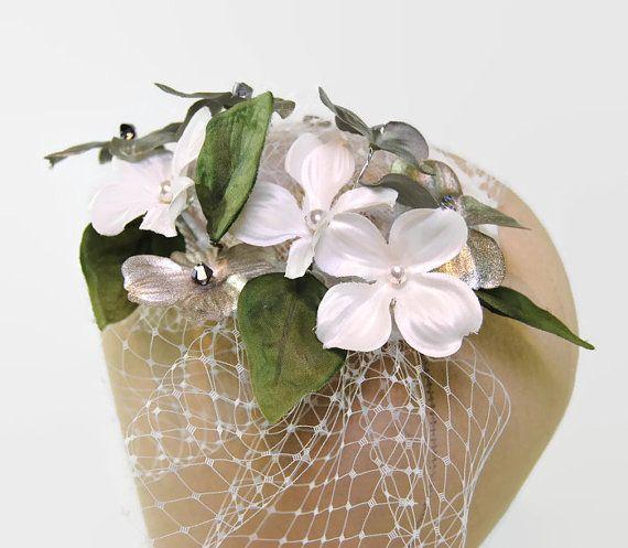 Silver Fascinator - Birdcage Fascinator - Mother of the Bride Fascinators - Bridal Headpieces - Wedding Fascinator - Royal Wedding - Orion