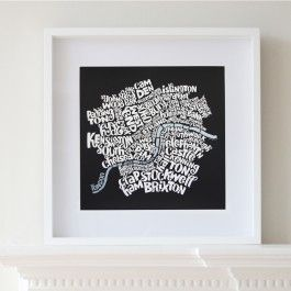 Limited edition, intricate typographic map art print of Central London.