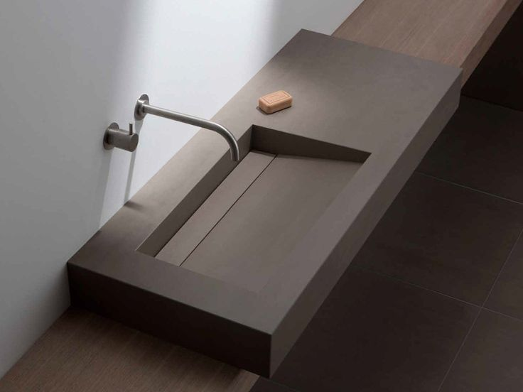 Countertop washbasin with integrated countertop MONOCUBE Terra Collection by Mosa
