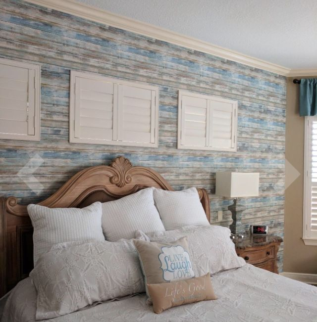 Roommates Rmk9052wp 28 18 Square Feet Blue Distressed Wood Peel And Stick Wallpaper Cheap Beach Decor Home Wallpaper Bedroom
