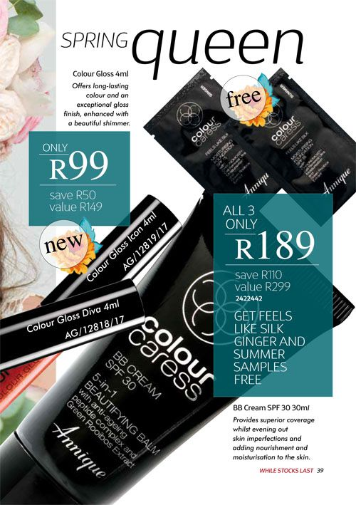 Annique September 2017 Beauté BB Cream,  Colour Gloss Diva & Icon Purchase any of these months awesome #Annique #Specials from our online store AND earn rewards while you're there. #rooibosmiracle  https://rooibos-miracle.co.za/store/