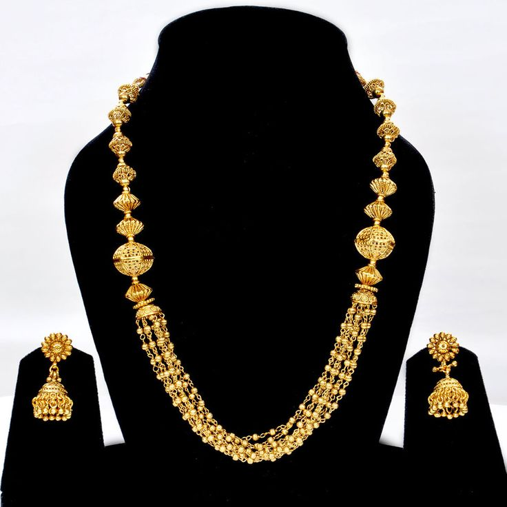 IKJ321 Indian Bridal Party Wear Latest Creation Long Gold Tone Necklace Earrings #Indian #StrandString