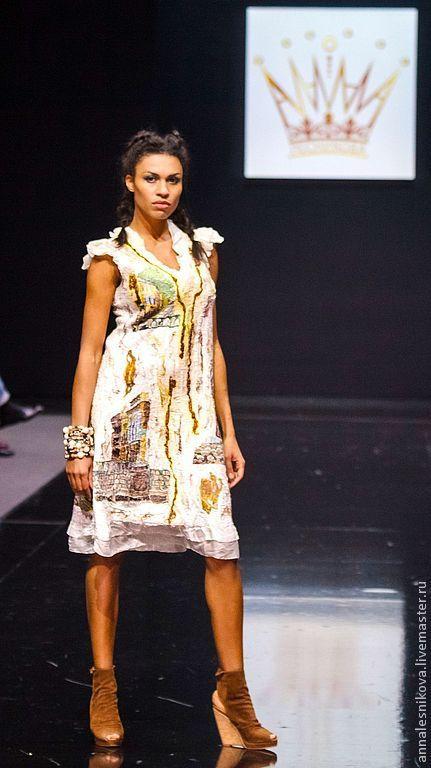 """Купить Платье """"Домики на шелке"""" - платье, авторское платье, нарядное платье, летнее платье"""