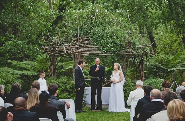 #Garden and #Outdoor #Wedding Venues in Cape Town | Confetti Daydreams. Amongst the tall #trees of the outdoors, a secluded wedding ceremony may be held before guests are led into a romantic sit-down reception venue in #Langverwagt's historic wine cellar. Services offered: Catering and accommodation.