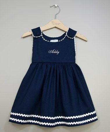 Take a look at this Navy & White Personalized Jumper - Infant, Toddler & Girls by Princess Linens on #zulily today!