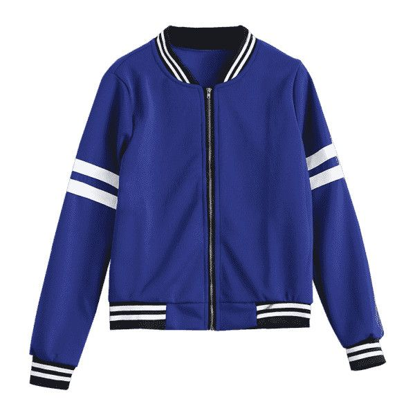 Zip Up Striped Jacket ($22) ❤ liked on Polyvore featuring outerwear, jackets, striped jacket, blue striped jacket, stripe jacket, blue jackets and zip up jackets