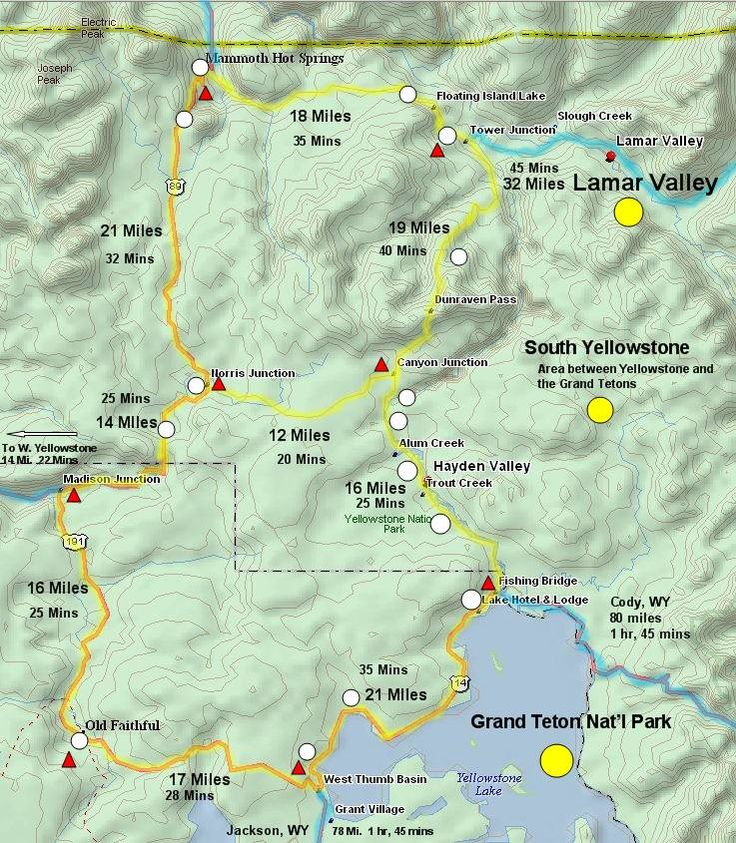 Map used to see various sections of Yellowstone-- estimated travel times