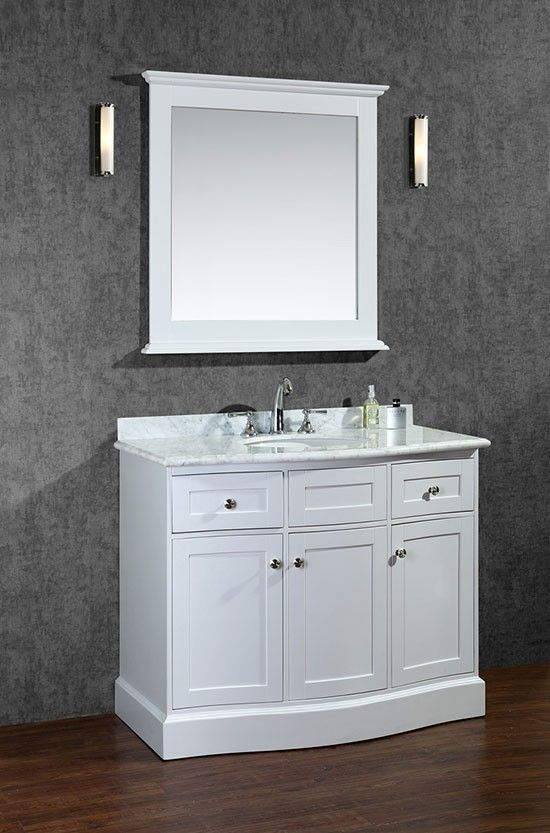 Ariel Montauk (single) 42-Inch Alpine White Transitional Bathroom Vanity Set