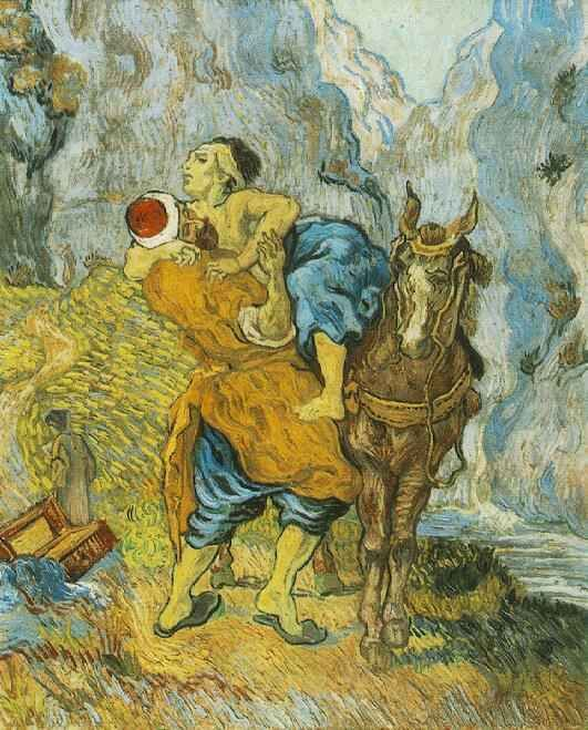 Vincent van Gogh: The Good Samaritan--after Delacroix. Oil on canvas. Saint-Remy: May, 1890. Otterlo: Kroller-Muller Museum.