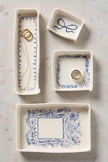 Indigo Illustration Trinket Dishes