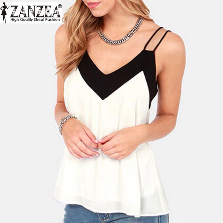 Zomer Stijl 2016 Sexy V-hals Womens Mouwloze Halter Blouse Vest Losse Chiffon Tank Tops Blusas Femininas Plus Size