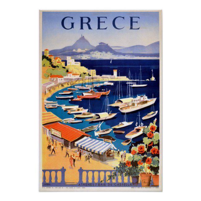 Vintage Athens Greece Travel Poster Zazzle Com In 2020 Athens Greece Travel Greece Travel Athens Greece