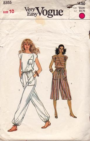 80s Jumpsuit & Rompers Pattern Vogue 8355 Vintage Sewing Pattern Size 10 Bust 32 1/2 inches