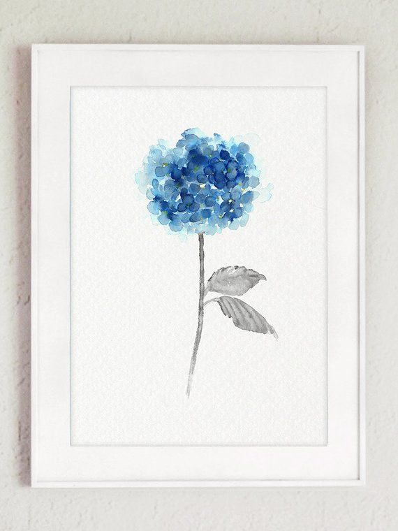 Blue Hydrangea Set Of 2 Watercolor Painting Abstract Flowers