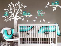 Eulen Baum Wandtattoo für Kinderzimmer Babyzimmer