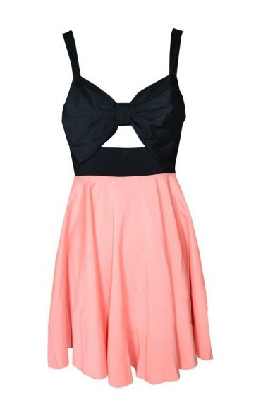 So Cute! Pink and Black Front Hollow-out Sleeveless Beach Dress #Cute #Pink_and_Black  #Sleeveless #Beach #Dress