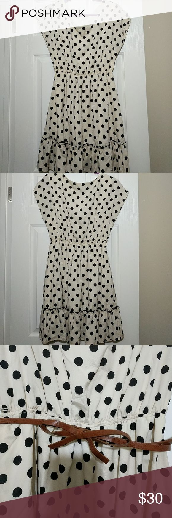 Modcloth polka dot dress Polka dot dress in cream and black by 7th Day (from Modcloth). Comes with an attached slip. Very cute and fun dress for a night out or for an event.   Comes with a brown bow belt. ModCloth Dresses Mini
