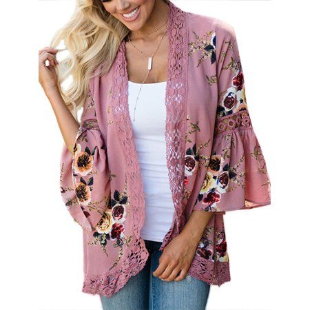 7cc63b158a JustVH Women s 3 4 Bell Sleeve Boho Floral Kimono Cardigan Cover up Lace  Stitching Blouse Top - 6 colors Walmart.com
