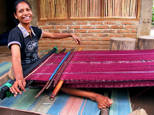 The making of Kain Tenun,  Flores, Indonesia