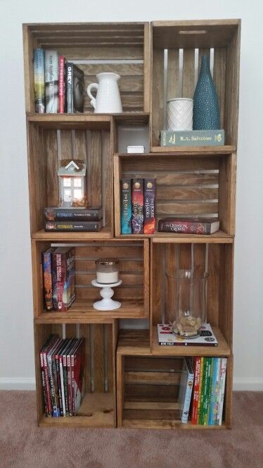 My crate bookshelf. Stained with Early American by Minwax. Crate shelf