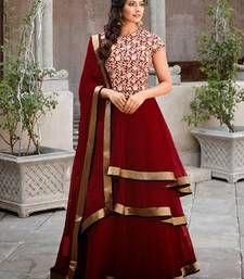 Buy Maroon georgette embroidered semi stitiched salwar wedding-salwar-kameez online