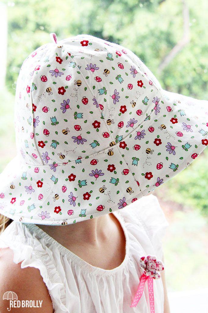 School yard Sun hat- A reversible kids hat pattern - Red Brolly