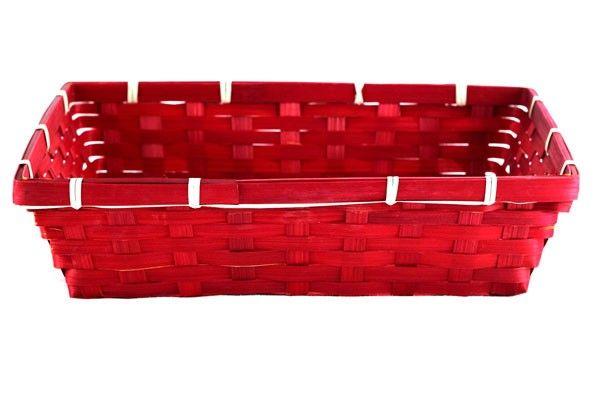 "Red Rectangular Basket 12.5"" x 9.5"" x 3""-AX610"
