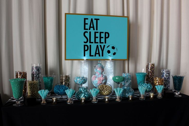 Soccer Themed Candy Bar Soccer Themed Bat Mitzvah Candy Bar with Turquoise & Gold Candy & Custom Logo Sign