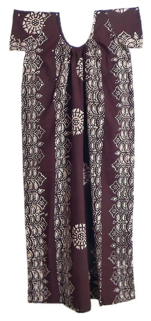 White Batik on Dark Brown Cotton Maxi (Cotton)