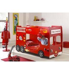 Lit superposé enfant DRAGON en camion de pompier coloris rouge