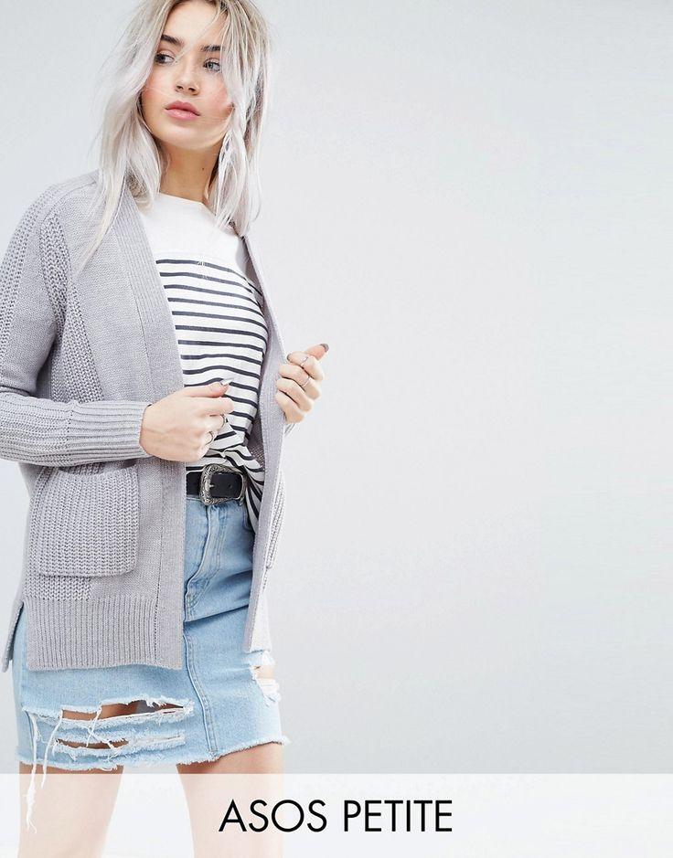 ASOS PETITE Ultimate Chunky Knit Cardigan - Gray