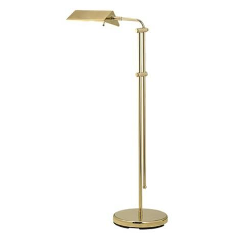 brass finish pharmacy floor lamp 100 adjustable from 44 to 54. Black Bedroom Furniture Sets. Home Design Ideas