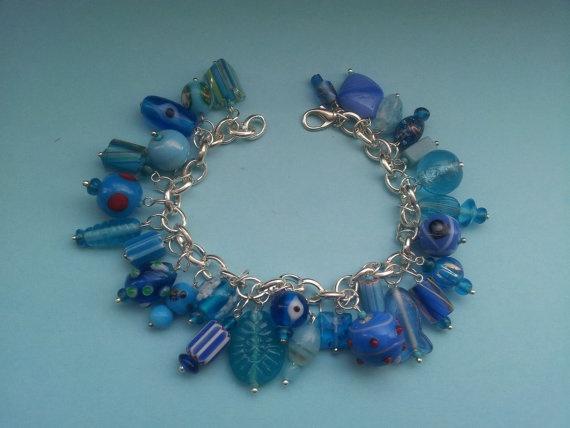 light blue glass charms bracelet