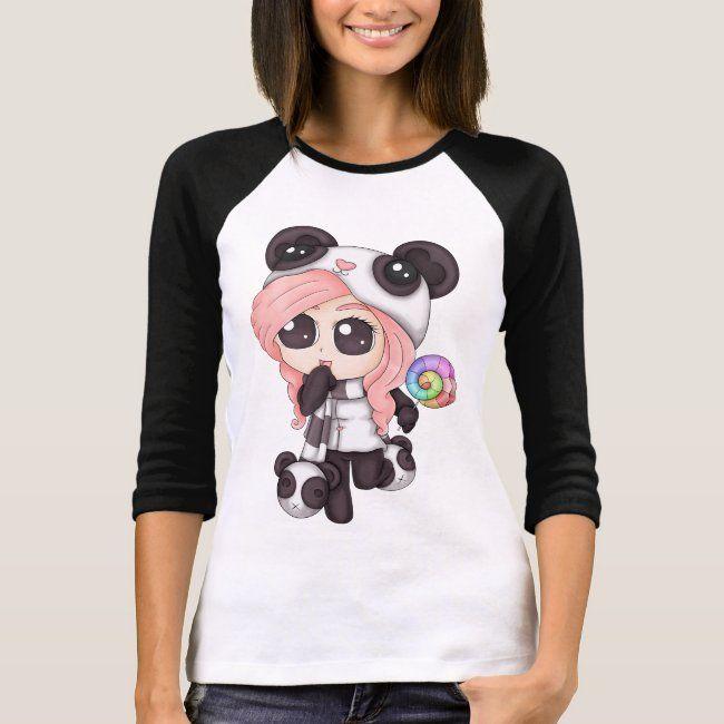 Cute Rainbow Anime Panda Girl T Shirt Zazzle Com Girls Tshirts Nerd Shirts Girl With Pink Hair