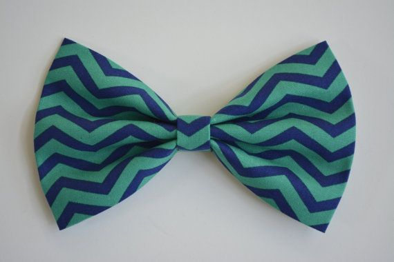 Hair Bow - Cobalt Blue and green chevron Hair Bow, bows for hair, girls Hair bows, fabric bows, Hair Bow for teens and women Ask a Question