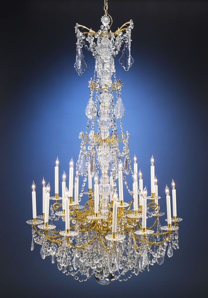 This outstanding crystal and doré bronze chandelier is crafted by baccarat m s rau antiques