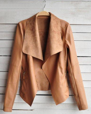 Fashionable Turn-Down Collar Long Sleeve Zippered PU Leather Jacket For Women Coats   RoseGal.com Mobile