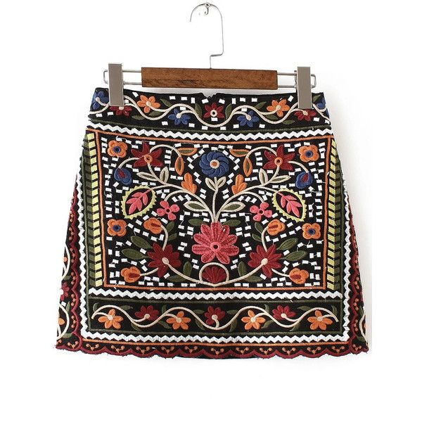 Multicolor Tribal Embroidery Vintage Skirt (260 GTQ) ❤ liked on Polyvore featuring skirts, shein, multi, print mini skirt, patterned skirts, tribal print skirt, tribal skirt and embroidered skirt
