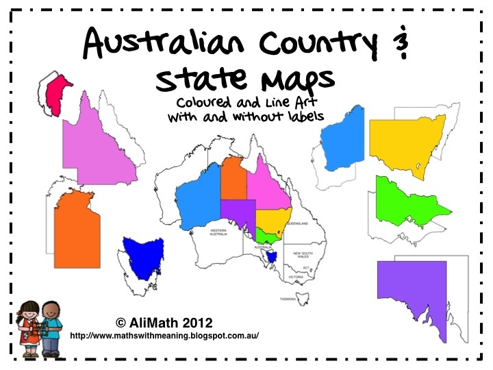 Australia Map Clipart - This is a perfectly computer drawn set of Australian Maps including line art and coloured images. There is also a labeled Australian map with states marked.   There are a total of 19 images in the zip file, each image an individual file. Images are png files and can be easily resized without losing clarity on the outline.