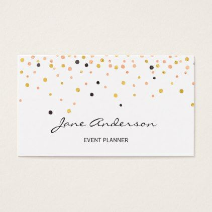 Blush pink gold confetti sprinkles with logo business card - chic gifts diy elegant gift ideas personalize