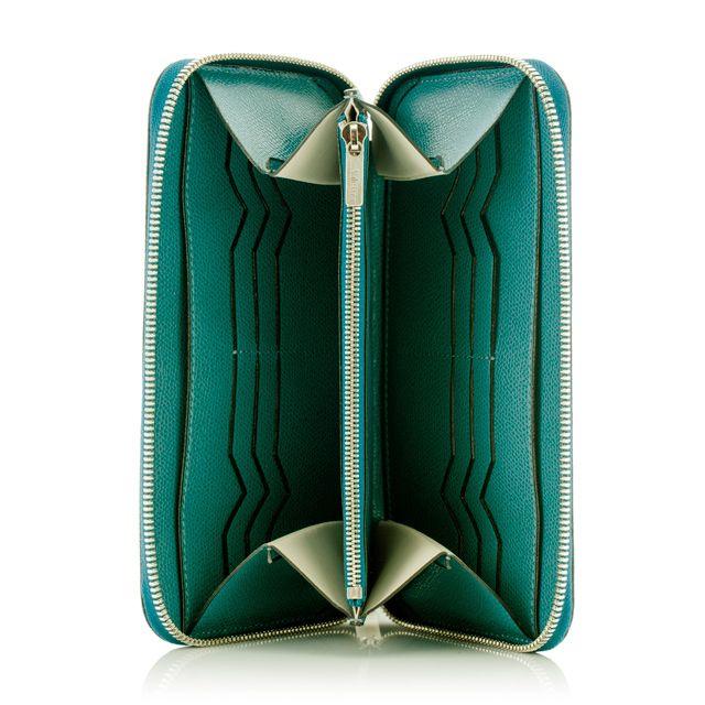 Round zip wallet 12cc ティールブルー / Valextra ヴァレクストラ オンラインブティック