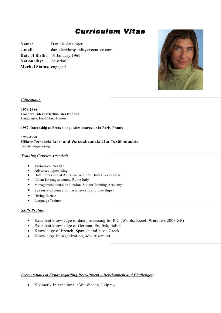 curriculum vitae english template