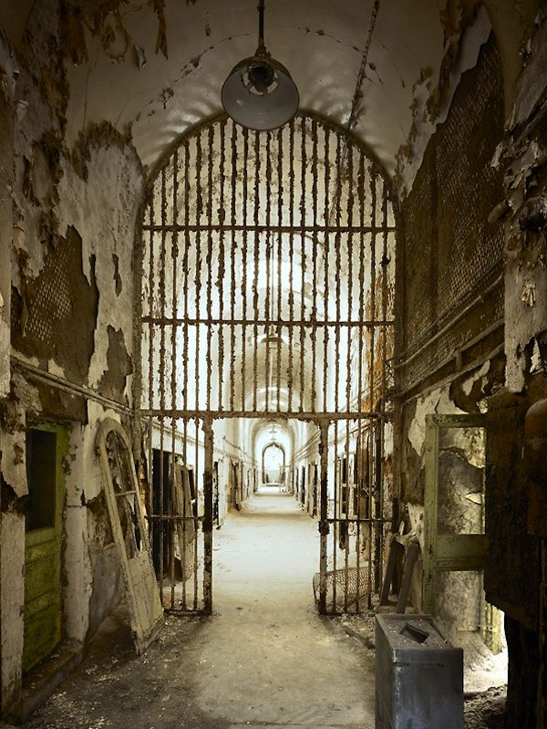 "Eastern State Penitentiary III, Cell Block Three, Philadelphia, PA. Erected in 1829, it was finally abandoned in 1971. In 1995, Terry Gilliam used it as the setting for a mental hospital in his film ""Twelve Monkeys."""