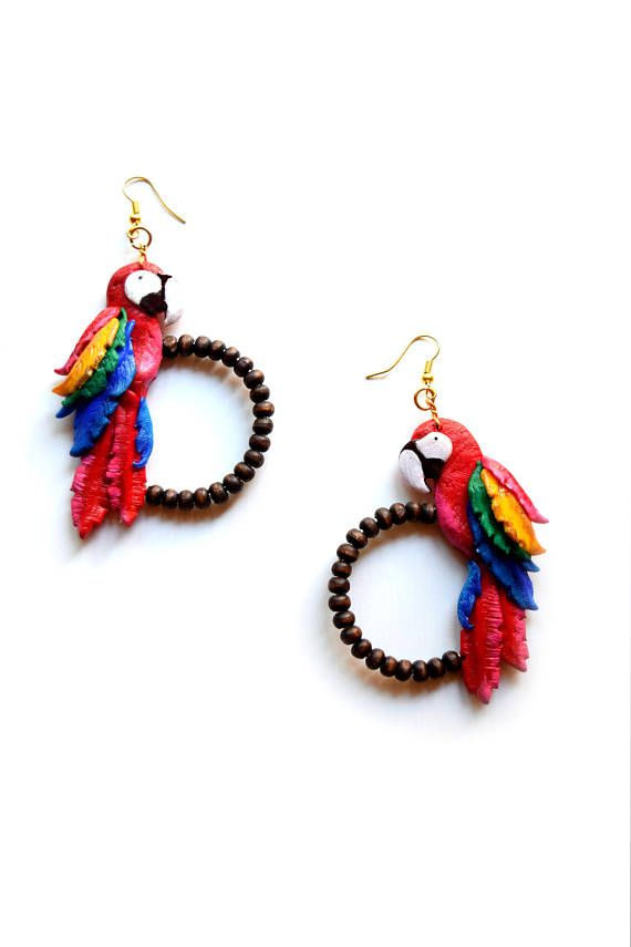 Macaw parrots Parrot earrings Exotic birds Macaw parrots jewelry Exotic earrings Handmade earrings Polymer clay parrot earrings