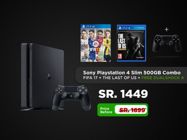 Buy playstation 4 With FIFA 17 and the Last of us in Saudi Arabia. Shop now from markatoutlet.com and get great discounts, we sell only genuine items at huge discounts. Shipping all over Saudi Arabia. Markatoutlet.com always have the best offer from any other online stores in the region. Shop Now. Playstation 4 Slim, Playstation Pro, Playstation Ultimate player edition, Playstation Vita, Playstation Controlller, Playstation accessories, Playstation Game discs buy now in Saudi arabia.