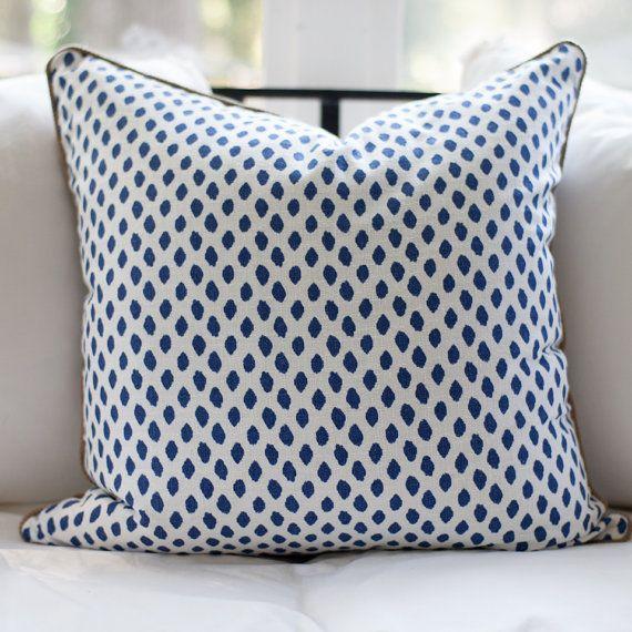 blue dot ikat designer pillow 24 custom by erinhughesdesigns 6000 - Designer Throw Pillow