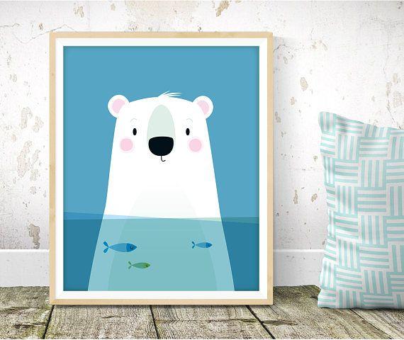 Creche L Art Mural Polar Bear Art Print Scandinave Pour Enfant